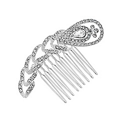 Jon Richard - Silver crystal feather hair comb