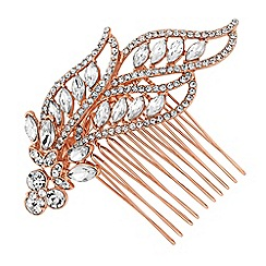 Jon Richard - Rose gold leaf hair comb