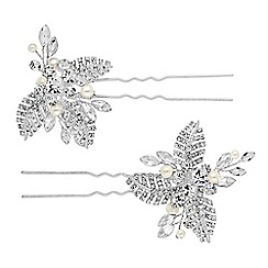 Jon Richard - Silver crystal leaf hair pin set