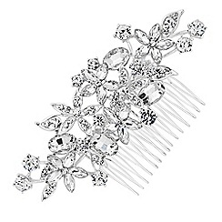 Jon Richard - Silver floral crystal hair comb