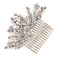 Jon Richard - Rose gold pearl and crystal spray hair comb