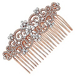 Jon Richard - Crystal filigree floral hair comb