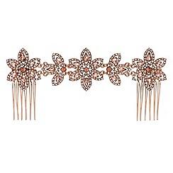 Jon Richard - Blush pink crystal floral double hair comb