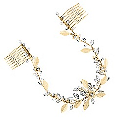 Alan Hannah Devoted - Gold blossom crystal freshwater pearl double hair comb