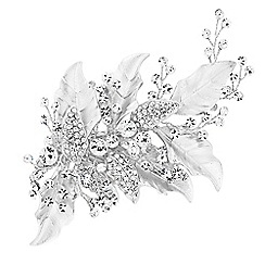 Jon Richard - Lily textured leaf and crystal hair clip