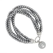 Multi row mini grey pearl stretch drop bracelet