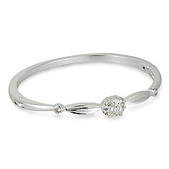 Jon Richard - Scalloped crystal stone centre silver bangle