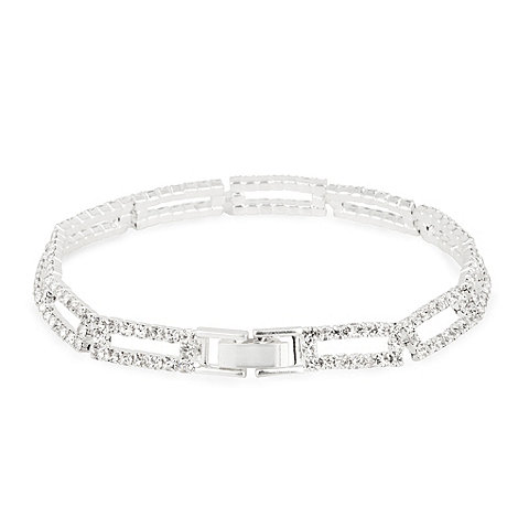Jon Richard - Diamante crystal open rectangular bracelet