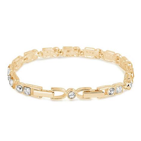 Jon Richard - Crystal square and round stone gold tennis bracelet