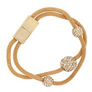 Double gold mesh pave crystal ball bracelet