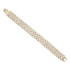 Jon Richard - Diamante crystal fine stone wide gold bracelet