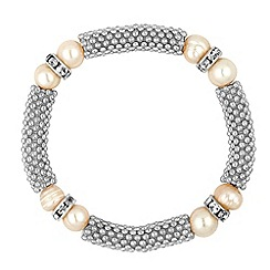 Jon Richard - Pearl and crystal rondel silver mesh stretch bracelet