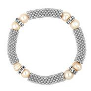Pearl and crystal rondel silver mesh stretch bracelet