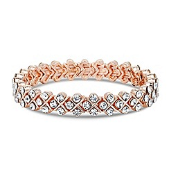 Jon Richard - Rose gold crystal cross effect stretch bracelet