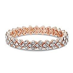 Jon Richard - Rose gold crystal cross effect stretch bracelet