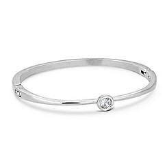 Jon Richard - Solitaire crystal stone set silver bangle