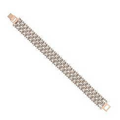 Jon Richard - Mini diamante crystal rose gold wide bracelet