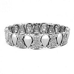 Jon Richard - Crystal peardrop silver link stretch bracelet