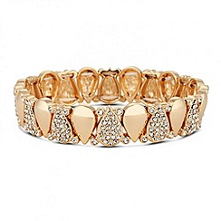 Jon Richard - Crystal peardrop gold link stretch bracelet
