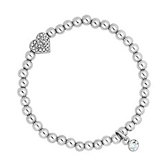 Jon Richard - Silver bead and heart charm stretch bracelet