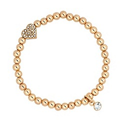 Jon Richard - Gold bead and heart charm stretch bracelet