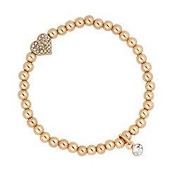 Jon Richard - Gold bead and heart charm stretch bracelet