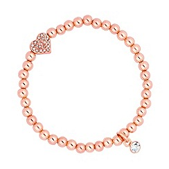 Jon Richard - Rose gold bead and heart charm stretch bracelet