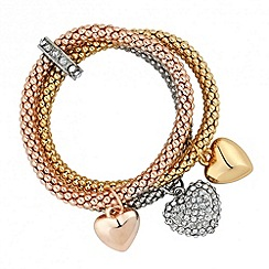 Jon Richard - Crystal heart charm multi tone stretch bracelet