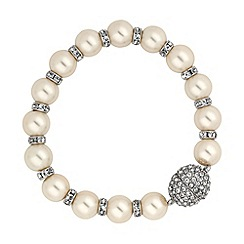Jon Richard - Pearl and crystal rondel magnetic clasp bracelet