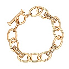 Jon Richard - Crystal link and gold oval chain bracelet