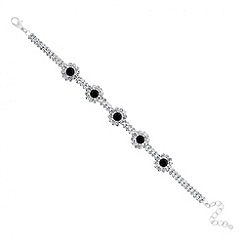Jon Richard - Jet and diamante crystal flower chain bracelet