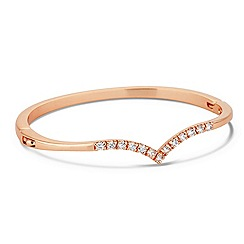 Jon Richard - Cubic zirconia rose gold wishbone bangle