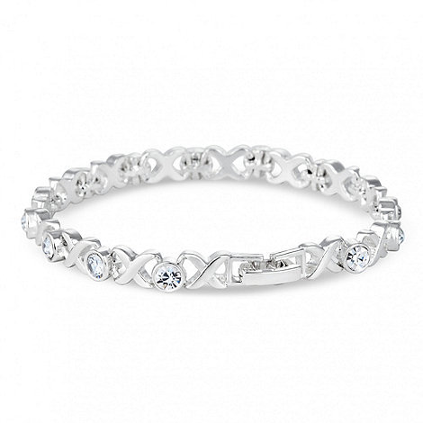 Jon Richard - Polished silver cross and crystal link bracelet
