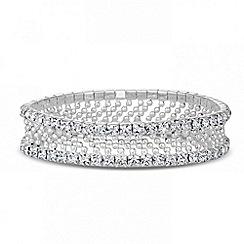 Jon Richard - Diamante crystal and bead double row stretch bracelet