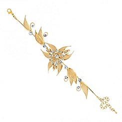 Jon Richard - Gold and crystal mesh flower bracelet