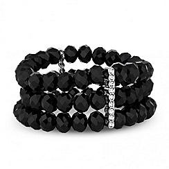 Jon Richard - Jet bead and crystal bar triple row stretch bracelet