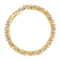 Jon Richard - Crystal set gold v shaped link bracelet