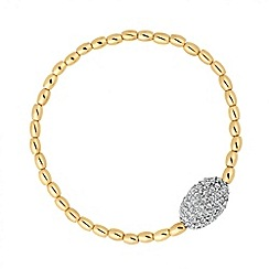Jon Richard - Crystal oval and gold bead stretch bracelet