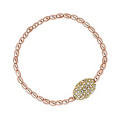 Jon Richard - Crystal oval and rose gold bead stretch bracelet