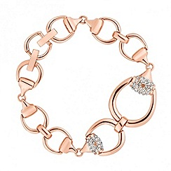 Jon Richard - Rose gold and crystal set link chain bracelet