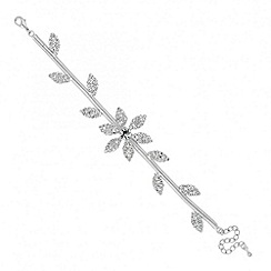 Jon Richard - Floral crystal embellished flat chain bracelet