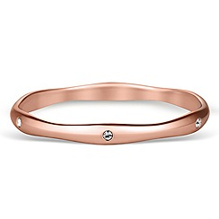 Jon Richard - Crystal encased rose gold wave bangle