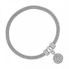 Jon Richard - Crystal disc charm silver mesh bracelet
