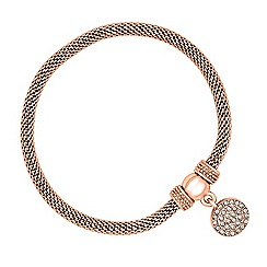 Jon Richard - Crystal disc charm rose gold mesh bracelet