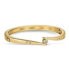 Jon Richard - Polished gold twist cubic zirconia bangle