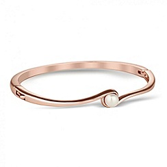 Jon Richard - Polished rose gold and pearl curved bangle