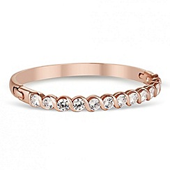 Jon Richard - Statement cubic zirconia twist rose gold bangle