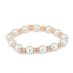 Jon Richard - Pearl and rose gold crystal flower stretch bracelet