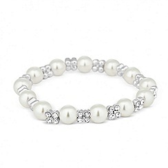 Jon Richard - Pearl and silver crystal flower stretch bracelet