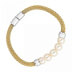 Jon Richard - Polished gold and pearl mesh magnetic bracelet
